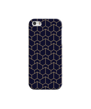Blue Black and Gold Geometric Lines for Cool iPhone 5 Case