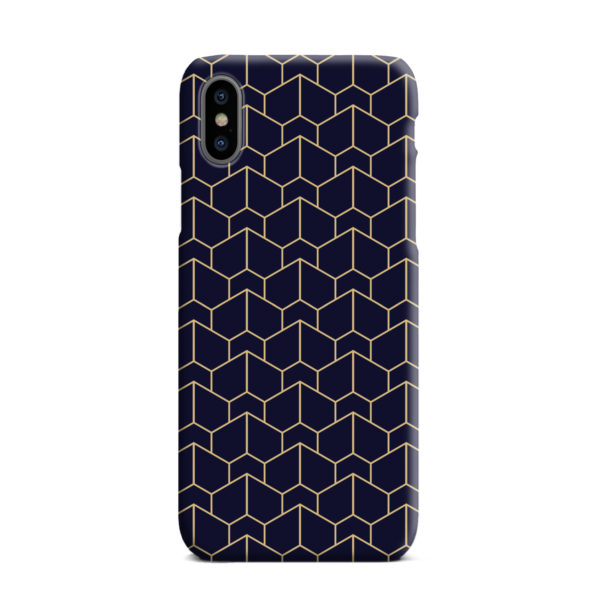 Blue Black and Gold Geometric Lines for Customized iPhone XS Max Case