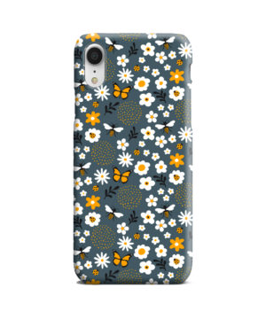 Cute Flowers and Bugs Cartoon Art for Beautiful iPhone XR Case Cover