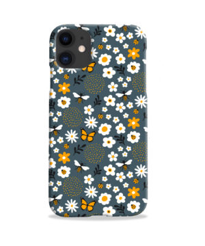 Cute Flowers and Bugs Cartoon Art for Cool iPhone 11 Case