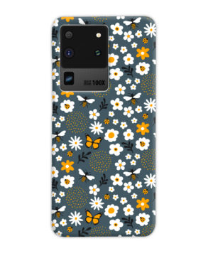 Cute Flowers and Bugs Cartoon Art for Cute Samsung Galaxy S20 Ultra Case Cover