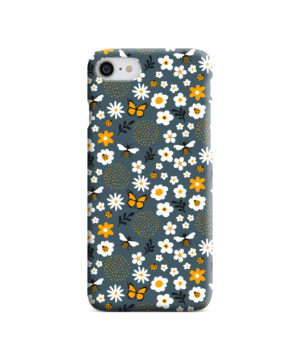 Cute Flowers and Bugs Cartoon Art for Personalised iPhone SE (2020) Case Cover