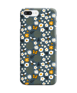 Cute Flowers and Bugs Cartoon Art for Premium iPhone 7 Plus Case Cover