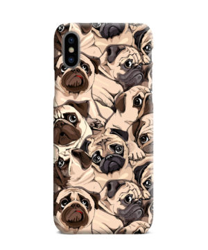 Funny Pug Dog Doodle Face Art for Beautiful iPhone XS Max Case