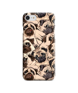 Funny Pug Dog Doodle Face Art for Cool iPhone 8 Case