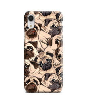 Funny Pug Dog Doodle Face Art for Cool iPhone XR Case Cover