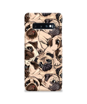 Funny Pug Dog Doodle Face Art for Cool Samsung Galaxy S10 Case