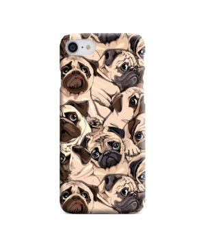 Funny Pug Dog Doodle Face Art for Trendy iPhone SE (2020) Case Cover