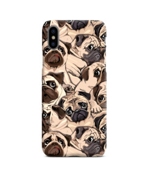 Funny Pug Dog Doodle Face Art for Trendy iPhone X / XS Case Cover