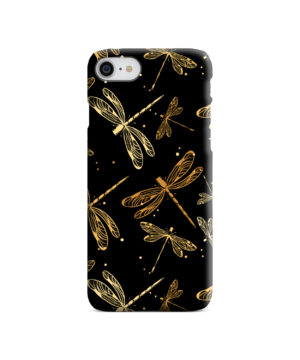 Gold Colored Dragonflies for Cool iPhone SE (2020) Case Cover