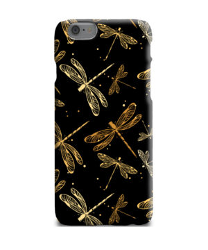 Gold Colored Dragonflies for Custom iPhone 6 Plus Case Cover