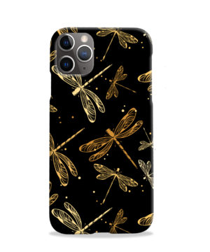 Gold Colored Dragonflies for Customized iPhone 11 Pro Case Cover
