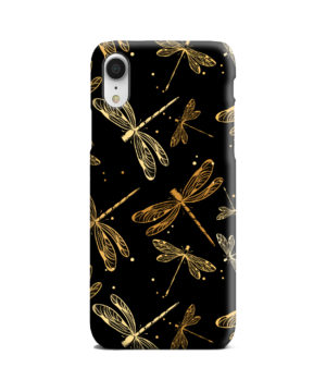 Gold Colored Dragonflies for Premium iPhone XR Case Cover