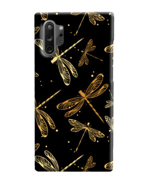Gold Colored Dragonflies for Premium Samsung Galaxy Note 10 Plus Case Cover