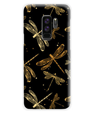 Gold Colored Dragonflies for Premium Samsung Galaxy S9 Plus Case
